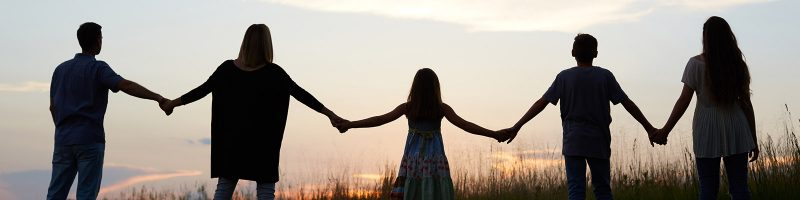 family silhouette at sunset holding hands in a field