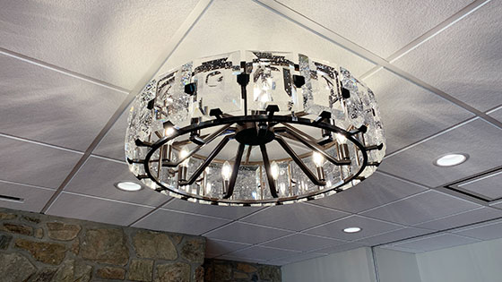 Fellowship Hall chandeliers, can lights, and 2x2 ceiling tiles