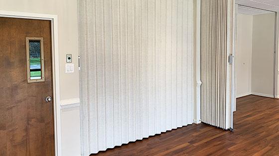Fellowship Hall accordion doors and partition walls